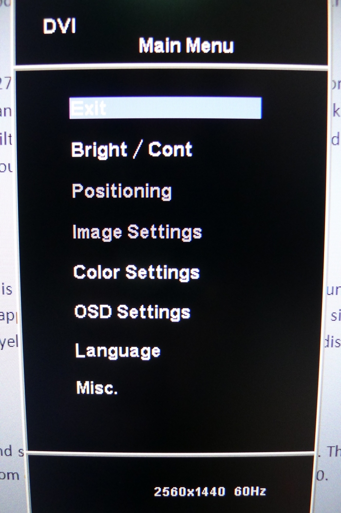 The on screen controls