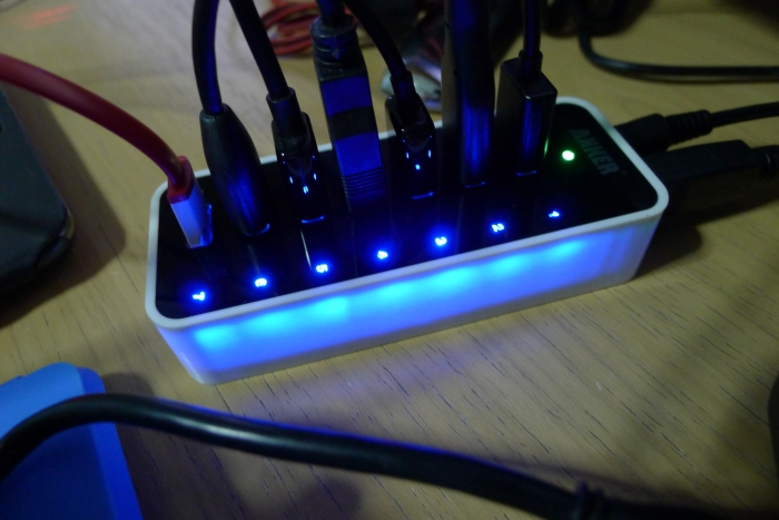 Blue lights indicate that USB is currently being used